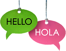 Hello and Hola signs